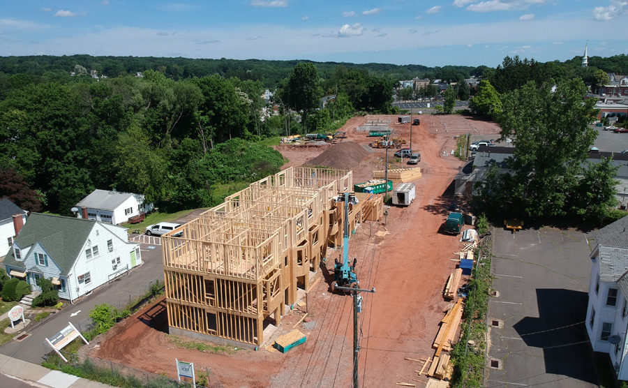 Construction is underway at Eden & Main, a new townhome community in Southington, CT.